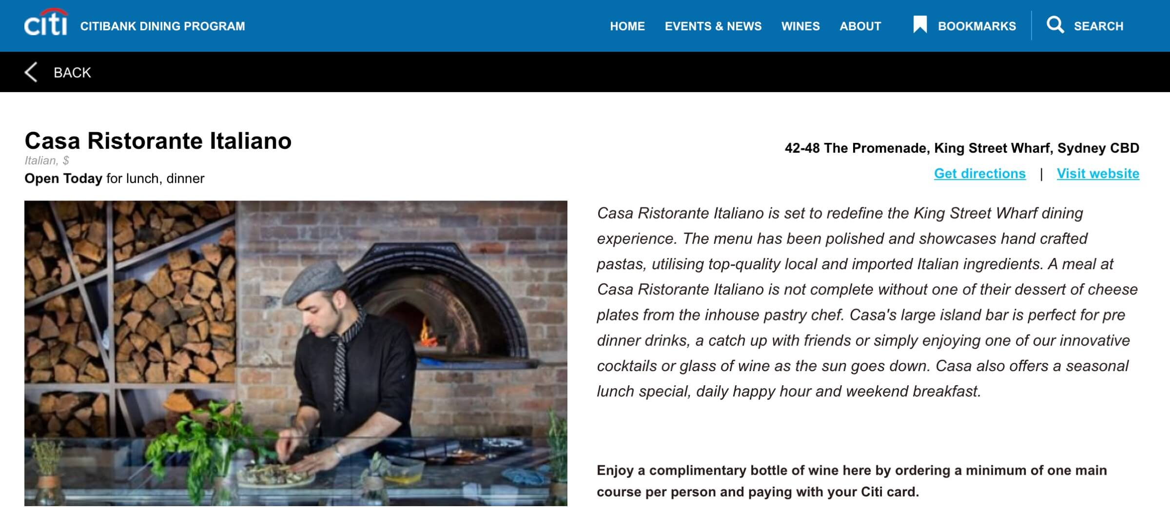 Casa is a proud Partner with the Citibank Dining Program 2