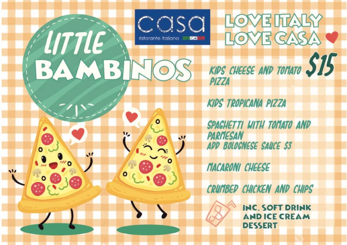Food Menu- Casa's Little Bambinos Kids Menu